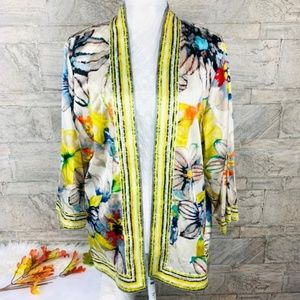 Chico's silk blend floral open front kimono XL
